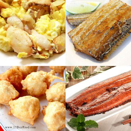 【買4送1】當季現撈:白帶魚、手工花枝丸、蟹管肉、蒲燒鰻,限量各30組